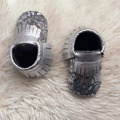 Silver Leather Sequin Baby Moccasins Real Leather Baby Shoes