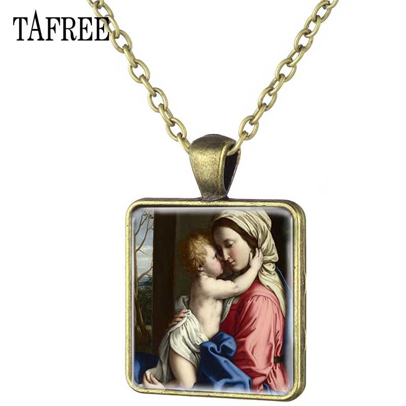 TAFREE Classical Art Oil Painting Religious Mother Maria Necklace Square Pendant Necklace Charm Choker Women jewelry MY03
