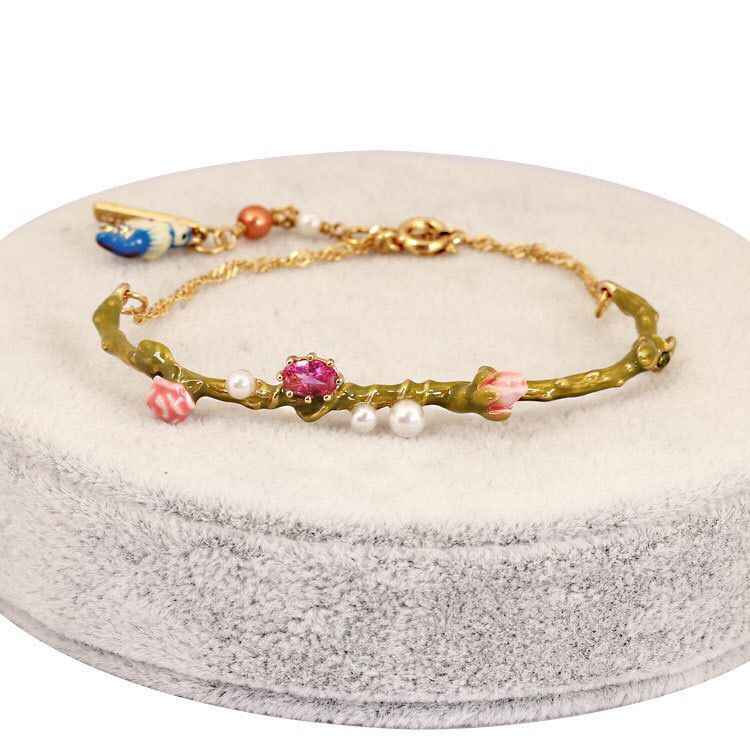 Amybaby 2018 Designer Enamel Glaze Blue Tits Love Birds Rose Bud Womens Bracelet Jewelry For Party