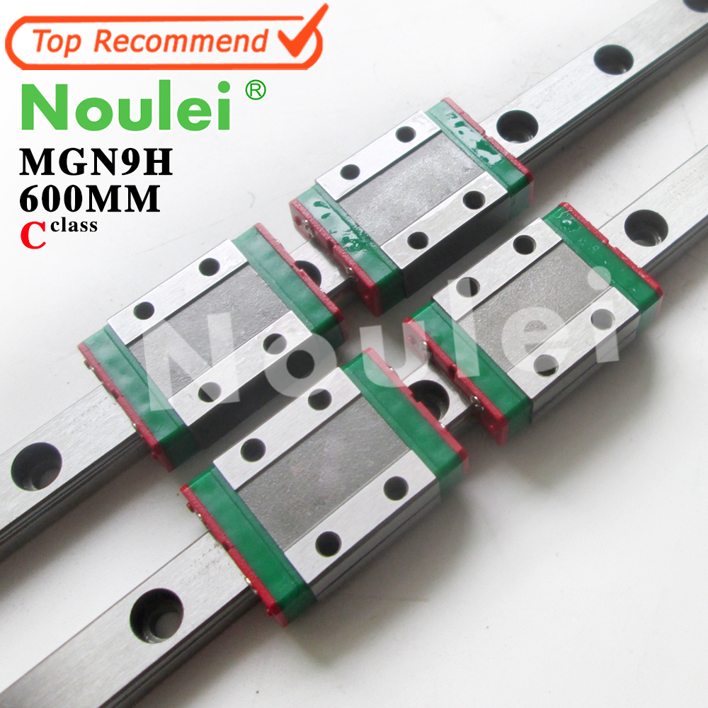 Kossel Mini Noulei MGN9 9mm linear guide 2pcs MGN9 600mm linear rail way + 4pcs MGN9H linear carriage for CNC X Y Z Axis kossel pro miniature 7mm linear slide 2pcs mgn7 450mm rail 2pcs mgn7h carriage for x y z axies 3d printer parts