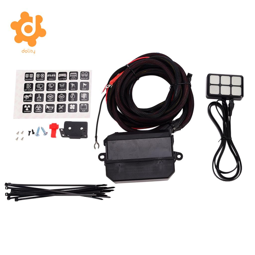 dolity DC 12V-24V 6-Gang On-Off Touch Switch Panel With Relay Fuse Holder Kit