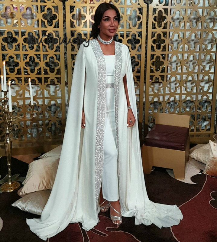 Dubai Muslim Evening Dress White Sequin Moroccan Kaftan Cape Prom Gown In Special Occasion Arabic Long Sleeve Dress Evening Wear