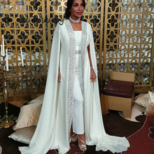 Dubai Muslim Evening Dress White Sequin Moroccan Kaftan Cape