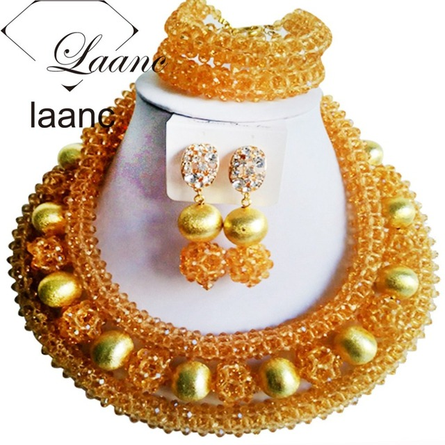 Clip Earrings Costume Jewelry Set Gold African Nigerian Wedding Beads Crystal Necklaces Laanc Al094