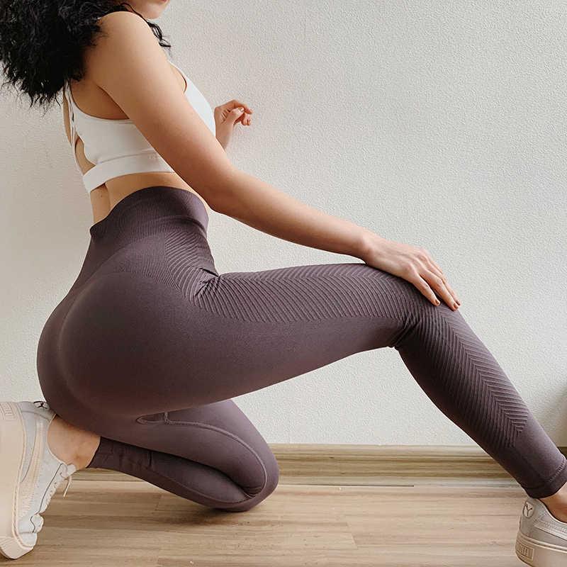جديد عملية لفافة ساق غير مخيطة الرياضة اللياقة البدنية المرأة عالية مخصر الرياضة رياضة طماق رفع اليوغا السراويل الشتاء اللياقة البدنية الملابس