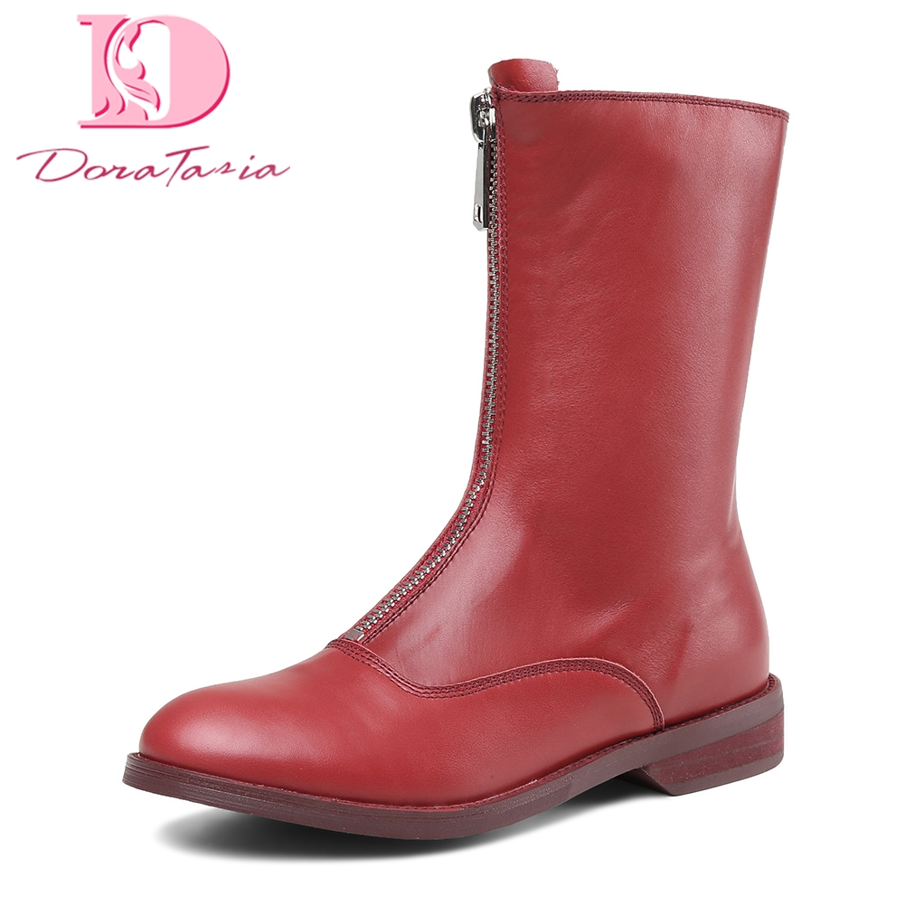 Doratasia Genuine Leather Large Size 33-43 Cow Leather Zip Up Women Shoes Woman Boots Martin boots Mid Calf Boots Woman doratasia 2018 genuine leather zip up cow leather shoes woman martin boots chunky heels wholesale mid calf boots woman shoes