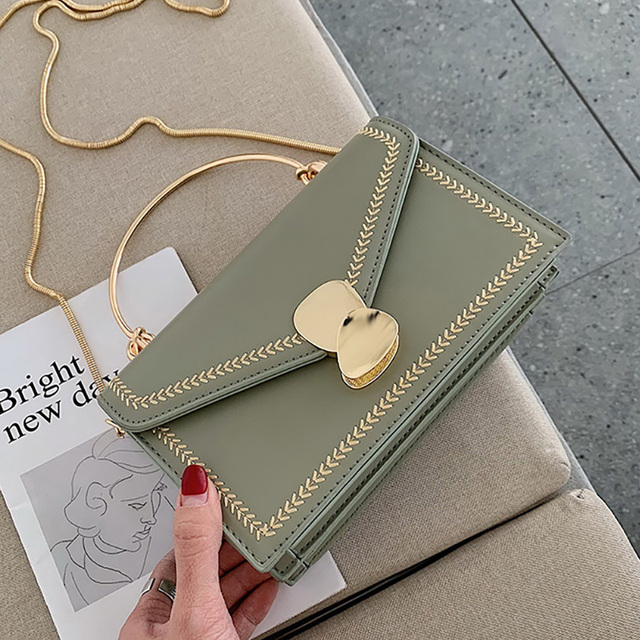 ETAILL Green Color Golden Chain Shoulder Messenger Bag Summer Bags for Women 2019 Embroidered PU Leather Flap Crossbody Bags
