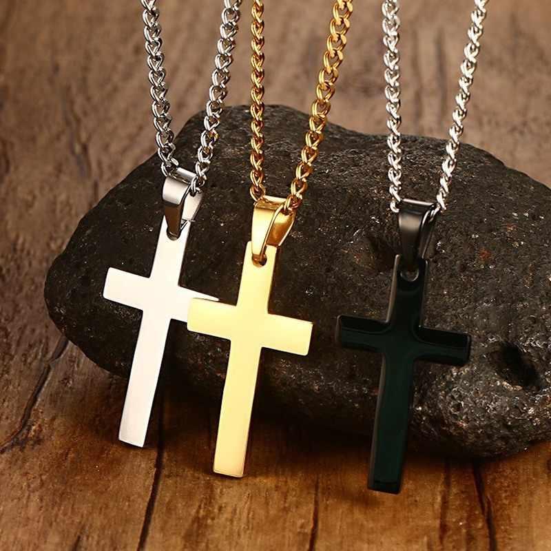 """Clássico masculino cruz pingente colar para masculino colar de aço inoxidável declaração cruz jóias 24 """"link chain"""