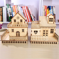 Figurines Miniatures LED Wood House Home Lighted House Model Miniature Lamp Table Decoration Accessories Gift Present