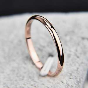 LNRRABC Rose Gold Simple Wedding Couples Rings Woman Gift