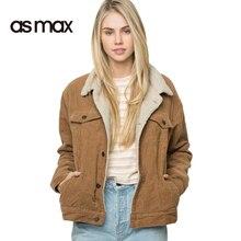 asmax Fashion Women Jacket Coat Casual Winter Corduroy Double Pockets Single Breasted Long Sleeve Coats Vintage