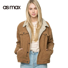 asmax Fashion Women Jacket Coat Casual Winter Corduroy Double Pockets Single Breasted Long Sleeve Coats Vintage Soft Outwear