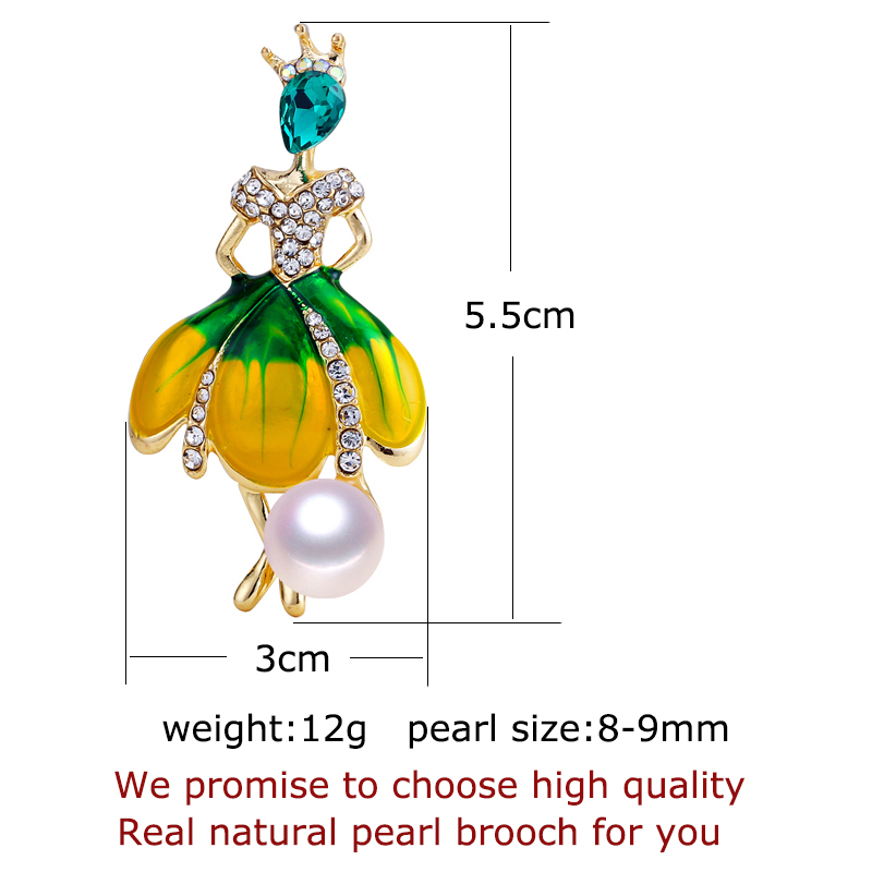 SHDIYAYUN New High Guality Pearl Brooch Ballerina Girl Brooch For Women Fashion Brooch Pins Natural Freshwater Pearl Jewelry in Hair Jewelry Brooches Body Jewelry from Jewelry Accessories