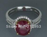 Vintage 4.42Ct Solidna 14kt Wielu Tone Żółty i Biały Naturalny Czerwony Rubin Pierścionek zaręczynowy Diament Biżuteria