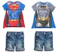 Free Delivery 2015 New Boy Set Children Hot Summers Superman Batman T Shirts Cloak Jeans Three