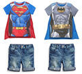 free delivery 2015 new boy set Children hot summers superman batman T-shirts + cloak + jeans three-piece suit baby kids clothes