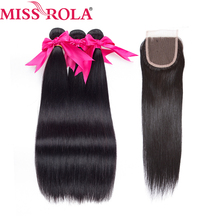 Miss Rola Hair Pre-colored Peruvian Hair 3 Bundles Straight 100% cabello humano con cierre Natural Color 8-26 pulgadas Non-Remy