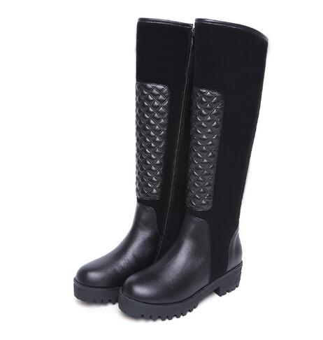 Low heel round toe long boots Women black splicing low heel knee-high long boots knight boots Ladies winter snow boots high low hem long sleeves sweatshirt
