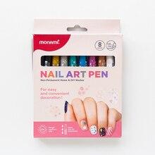Monami Nail Art Pen DIY Marker Nail Graffiti Pen 8 Kleuren Manicure Marker Heldere Olie Makeups