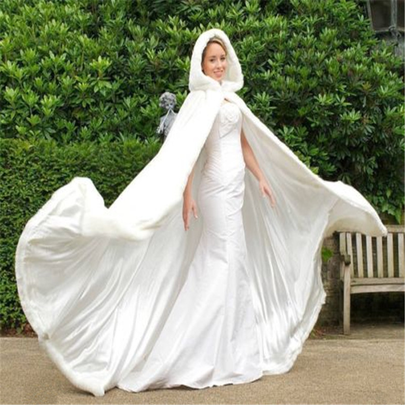 Long Faux Fur Trim Satin White Ivory Bridal Hooded Cloak Wedding Cape Winter Wedding Dress Shawl