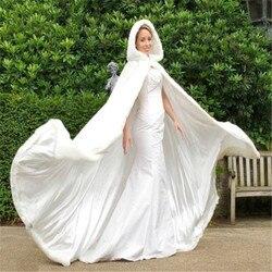 Lange Faux Fur Trim Satin Wit, Ivoor Bridal Hooded Mantel Bruiloft Cape Winter Trouwjurk Sjaal Jas S, m, L, XL.2XL, 3XL, 4XL, 5X