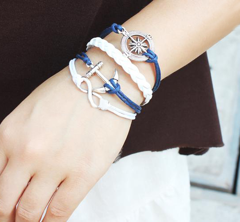 Infinity Bracelets The Comp Anchor Sea Multi Layer Braided Leather Bracelet Charm In From Jewelry