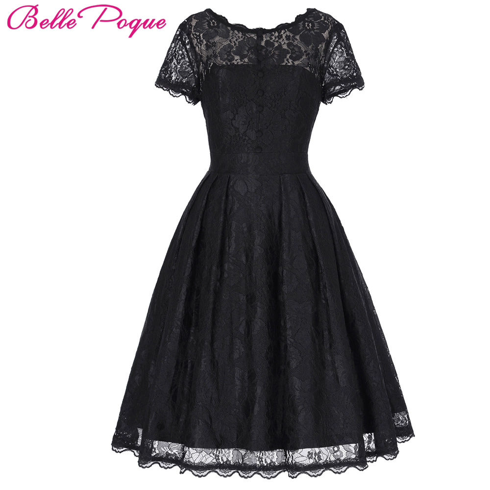 Beaut Shadow Store Belle Poque 2017 Short Cap Sleeve Vintage Swing V-Back Lace Office Dress Casual Tunic 1950s Rockabilly Swing Summer Dresses