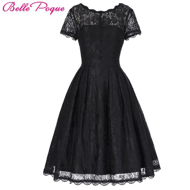 Belle poque 2017 curto da luva do tampão do vintage balanço v-back lace escritório dress casual túnica 1950 s rockabilly balanço vestidos de verão