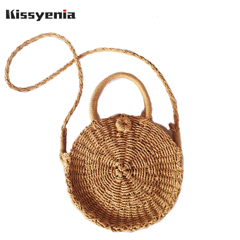 Kissyenia INS Hot Handmade Women Beach Bag Bohemian Bali Bags Summer Rattan Bag Woven Wicker Shoulder Circular Straw Bags KS1209 2018 women hand woven round rattan straw bag ins bali bag bohemian beach circle bag circular handbag shoulder