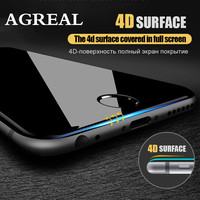 AGREAL 4D Full Cover Tempered Glass For iPhone 7 6 6S Plus Screen Protector 9H Tempered glass For iphone 6 6S 7 Plus 3D glass