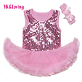 Sequin Lace Romper Tutu Dress Baby Summer Girls 2 pcs Set Romper Tutu De BorboletaToddler Girls Clothing 2016 New Fashion RN125