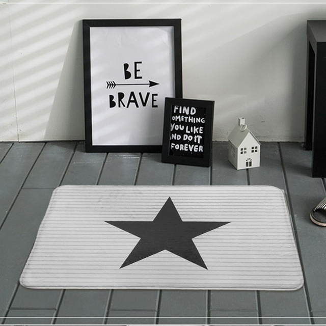 Perfect Fiber Living Room Carpet Stripe Creative Home Five Pointed Star Pattern Mats Design Ideas