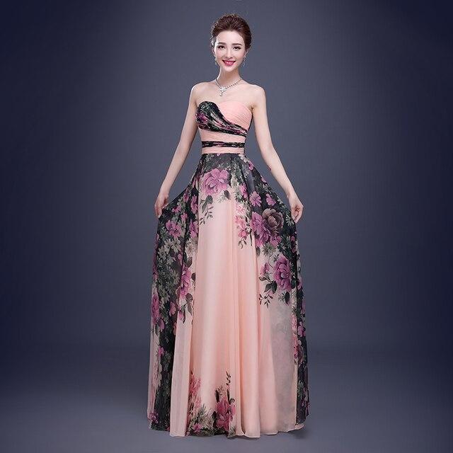 9309a78c8 Vestidos fiesta 2015 nuevo diseño modelo flor de la impresión de la gasa de graduación  vestido