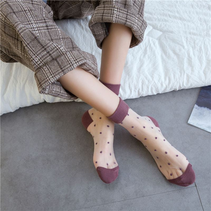SP&CITY Vintage Dot Colored Summer Transparent Funny Socks Women Cute Hollow Out Thin Short Harajuku Socks Casual Cool Art Sock