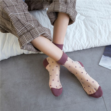 SP&CITY Vintage Dot Colored Summer Transparent Funny Socks Women Cute Hollow Out Thin Short Harajuku Casual Cool Art Sock