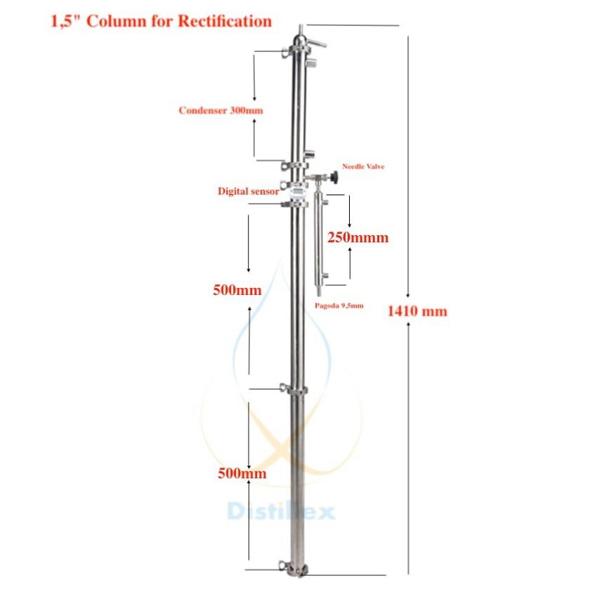 1.5 OD50.5mm Rectification colonne, Reflux colonne, Distillation Sanitaires En Acier 304