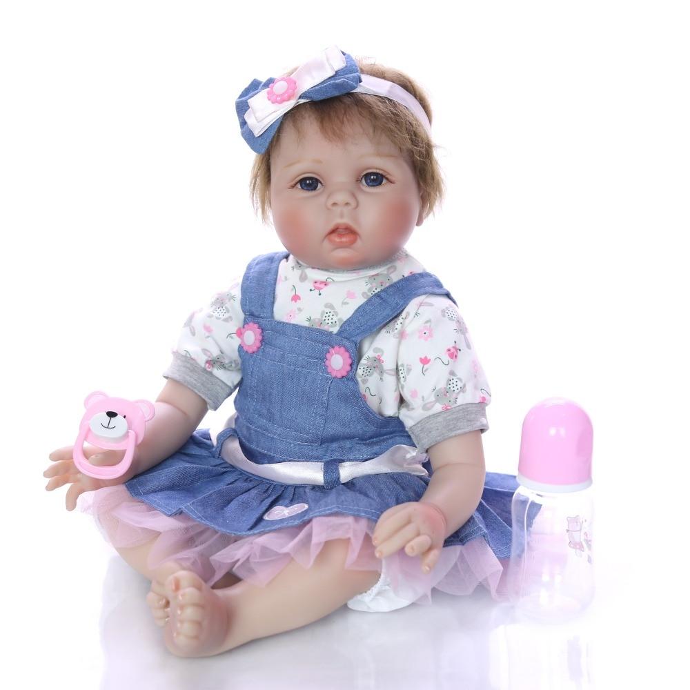 Bebes reborn menina 22inch 55cm handmade silicone reborn baby dolls toys for child birthday gift newborn