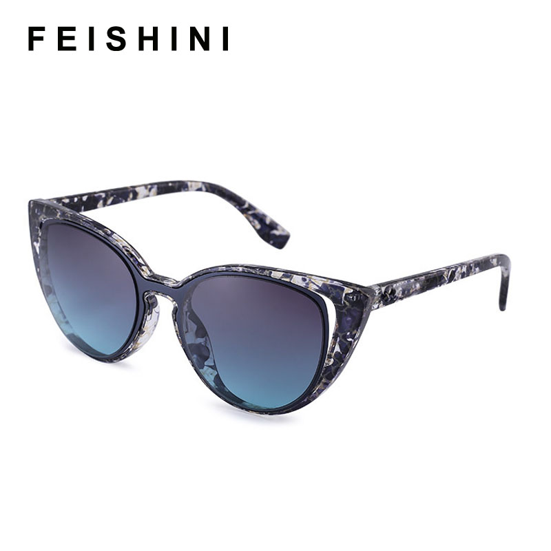 fe5be2053c Feishini Luxury Polaroid UV400 Sun Glasses Cat Eye Elegant Checked Sexy  Advanced Gradient Sunglasses Women Polarized Vintage-in Sunglasses from  Apparel ...