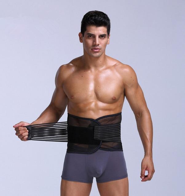 Men Breathable Mesh Back support Belt Slimming tummy trimmer belly control girdle waist control shaper cincher removable bones