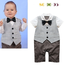 Free Shipping 3sets/lot Infant Toddler Baby Boy's Formal Wear Tuxedo Romper