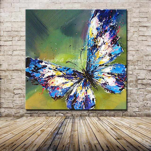 Popolare Handmade Astratta Adorabile Blu Farfalla Pittura A Olio di Arte Su  WC57