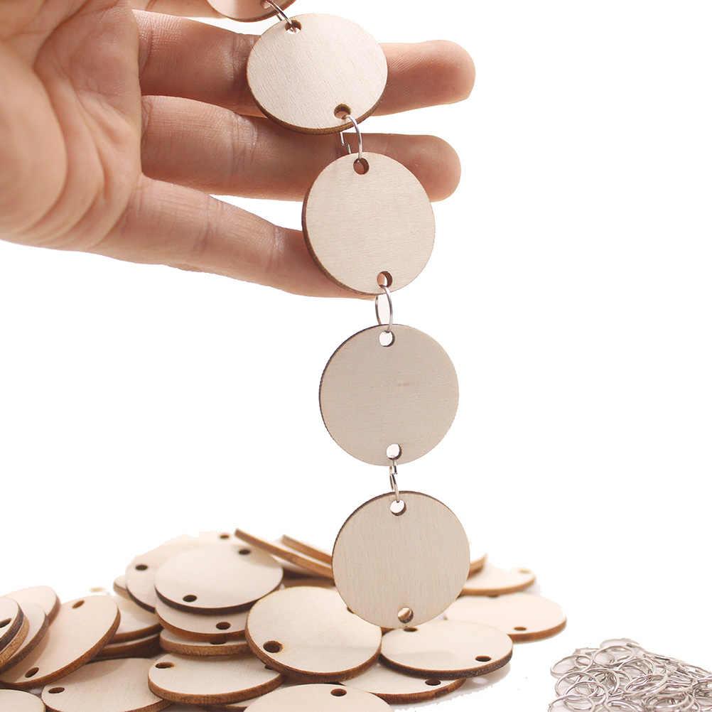 100 шт Круглые деревянные диски доска напоминание запись календарь деревянные фишки бирки с отверстиями с железными кольцами для рукоделия Вечерние