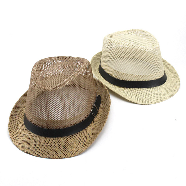 ce74346fc084a Summer Men Women Jazz Gangster Cap Fedora Hat Trilby Straw Panama Hat  Outdoor Beach Sun Mesh hat Breathable Adults British Style