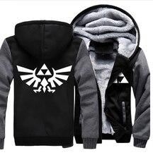 Usa größe männer frauen the legend of zelda mantel reißverschluss hoodie winter fleece unisex verdicken jacke sweatshirts clothing