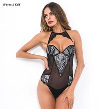 Sexy Lace Coloured Hollow Out Halter Bodysuit Women Rompers 2019 Tutine Estive Donna Deep V Neck Bodysuit цены онлайн
