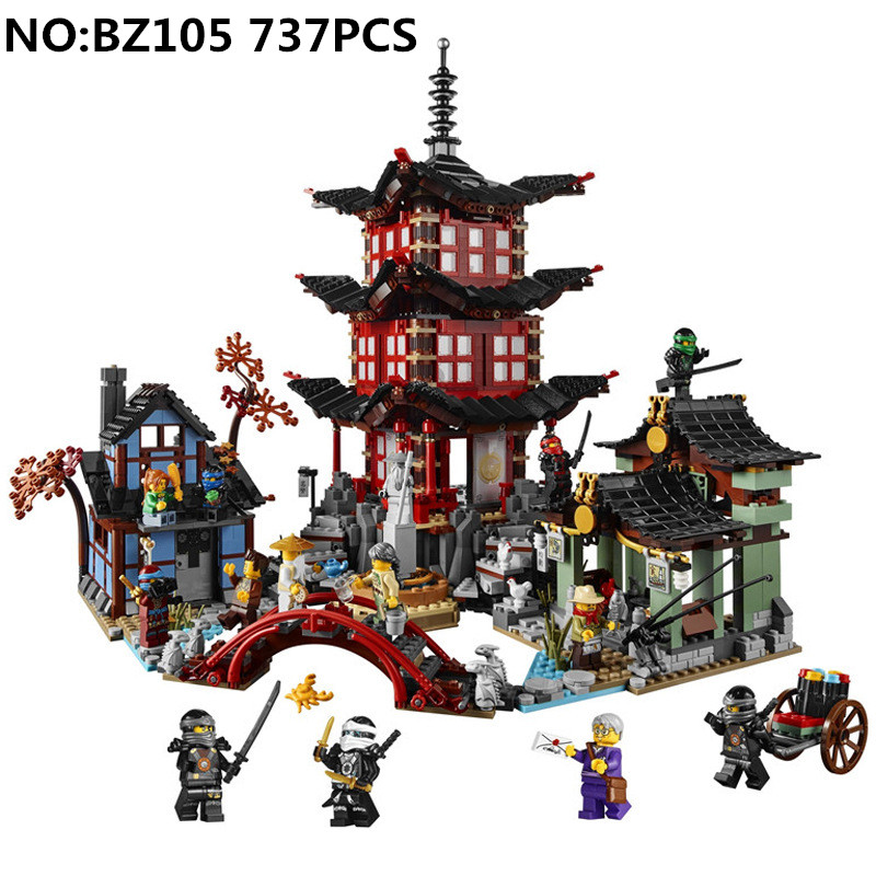 737 pcs Ninjagoes Temple of Airjitzu figures Smaller Version Building Bricks Blocks Compatible with playmobil Toys for children