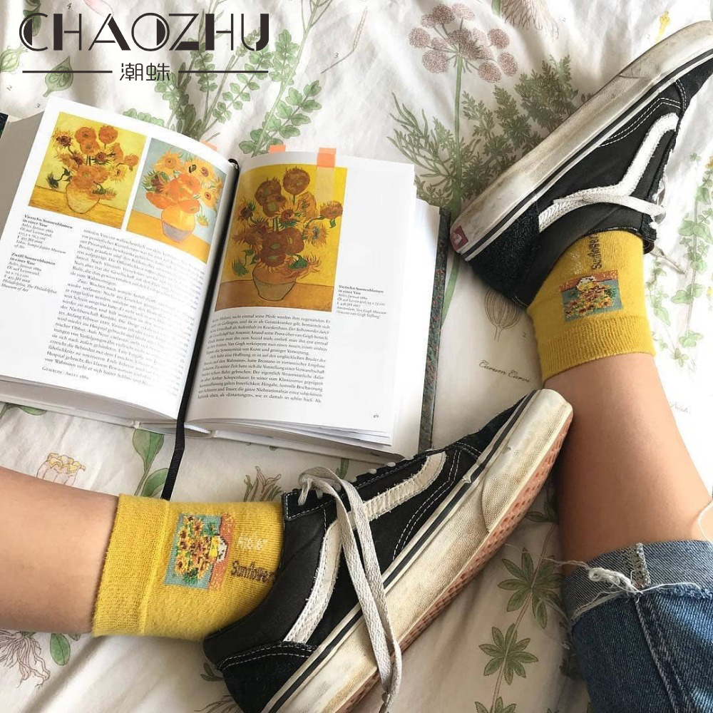 90S 80S Fashion Women Girls Aesthetic Mona Lisa Van Gogh Painting Socks 5 Colors 200 Needles Knitting Cotton Retro Funny Socks