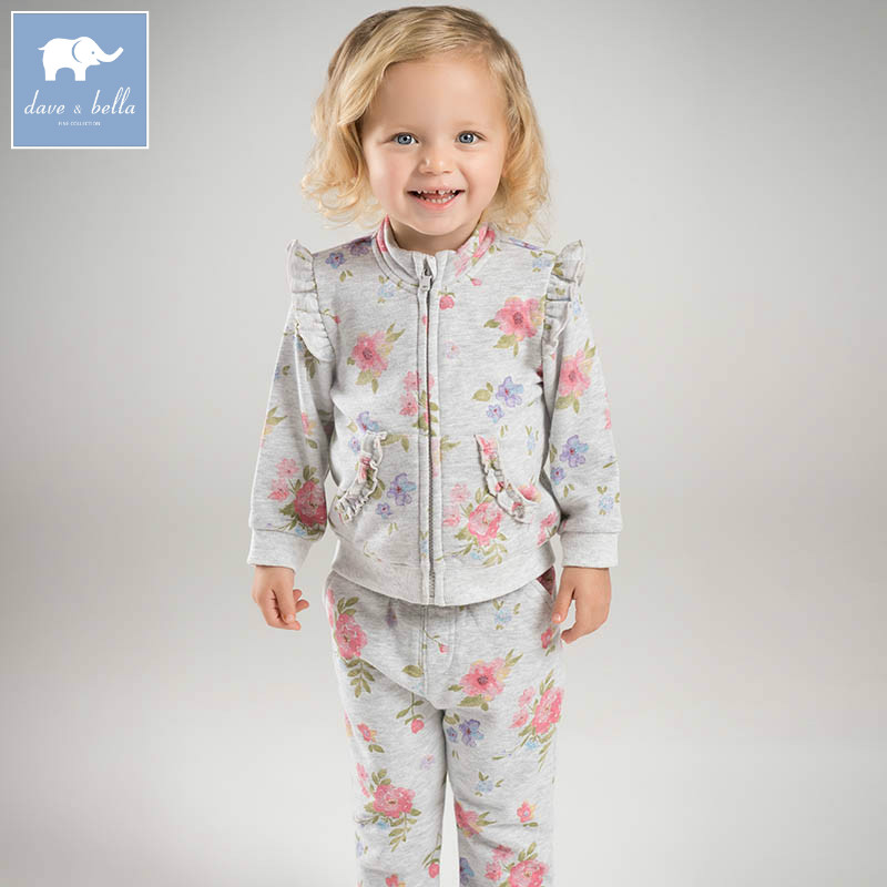 DBM7176 dave bella spring infant baby girls fashion clothing sets children 2 pc toddler suit