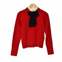 2018 fall and winter new ruffles collar long sleeve silk ribbon bow lace up girl sweet red sweater