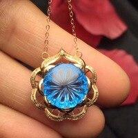 Fine Jewelry Real Pure 18 K Gold AU750 G18K Natural BlueTopaz Gold Pendant Gemstone Necklaces for Women's Fine Pendant Necklaces